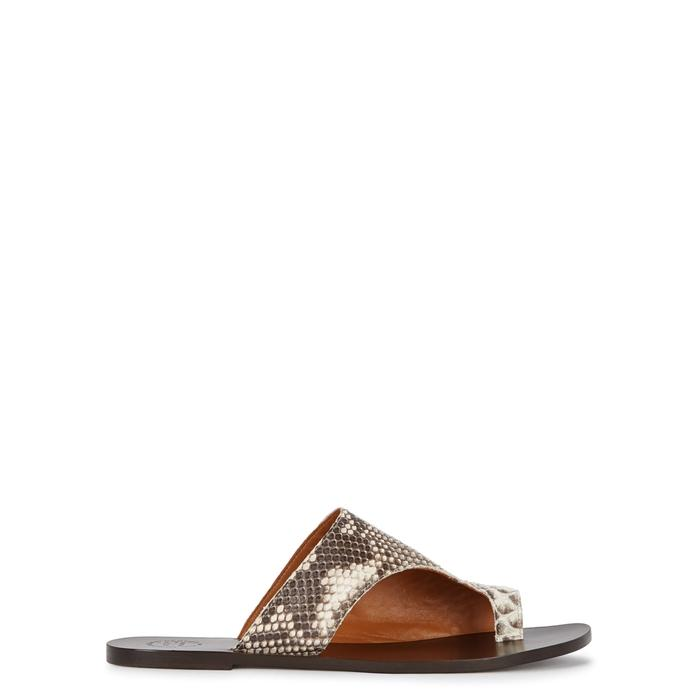 Atp Atelier Rosa Python Sandals In Grey