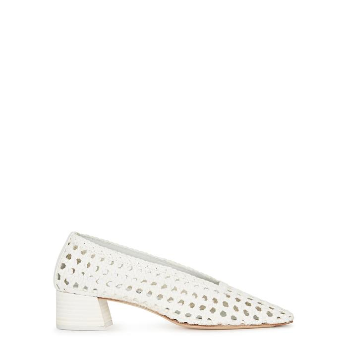 63536546b1d Miista Taissa White Woven Leather Pumps