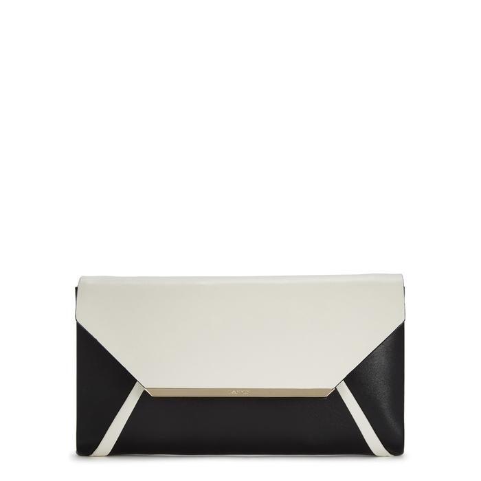 Lanvin Monochrome Leather Clutch In Black And White