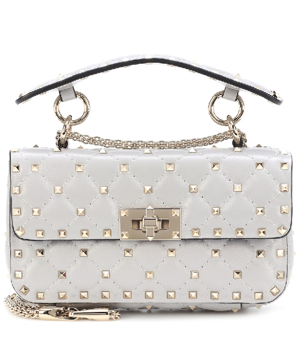 Valentino Rockstud Spike Small Leather Shoulder Bag In Grey