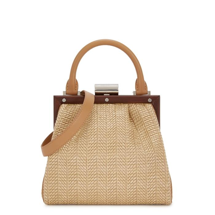 4e3aa1424b Perrin Paris Le Mini Attelage Raffia Shoulder Bag In Tan