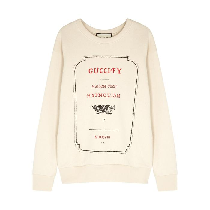 ab991aad9 Gucci Invite Stamp Printed Cotton Jumper | ModeSens