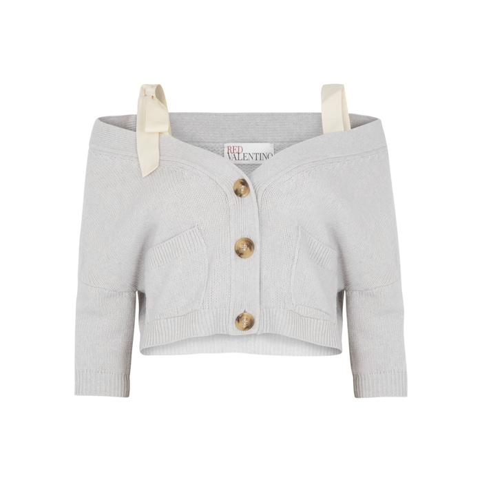 Red Valentino Light Grey Cropped Chunky-Knit Wool Cardigan