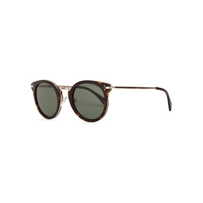5f68d7f91c011 Celine Lea Tortoiseshell Round-Frame Sunglasses In Havana