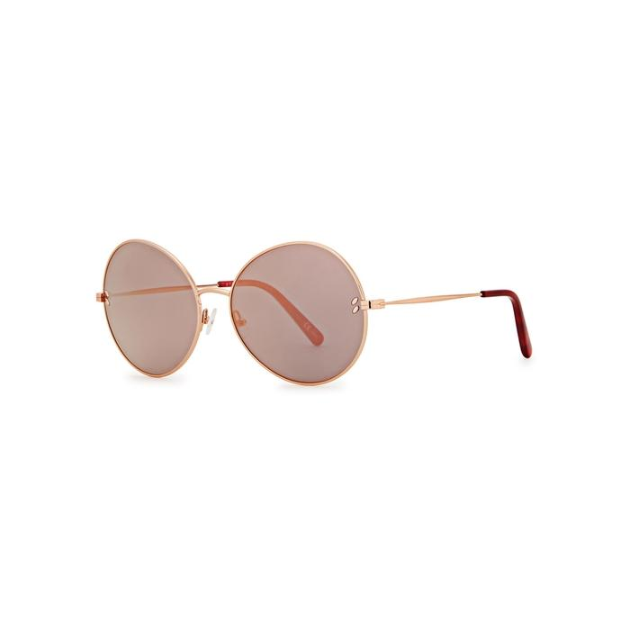 Stella Mccartney Rose Gold Tone Round-Frame Sunglasses