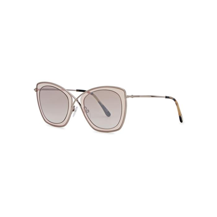 705b23af28 Tom Ford India-02 Light Brown Oversized Sunglasses