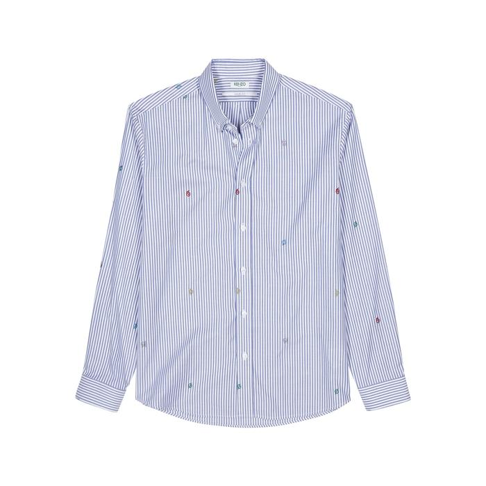 Kenzo Striped Embroidered Cotton Shirt In Multicoloured