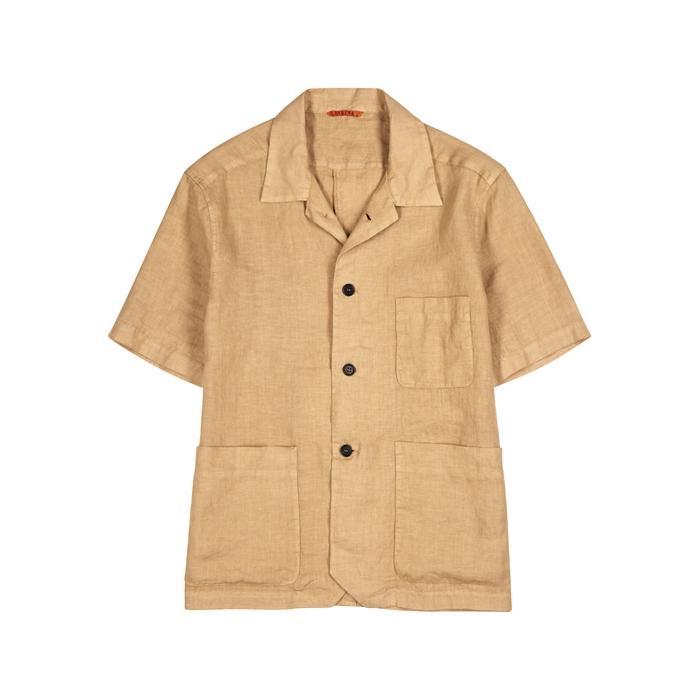 Barena Venezia Light Brown Linen Shirt In Khaki