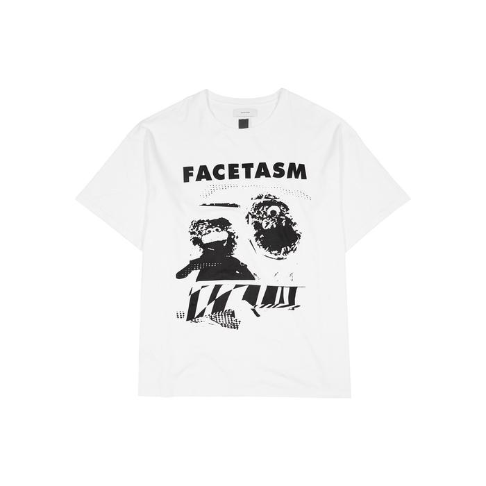 Facetasm Printed Cotton T-Shirt In White