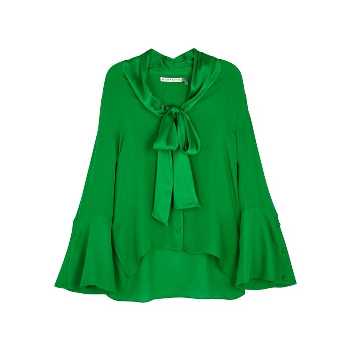 6b2831e22363 Alice And Olivia Meredith Green Silk Crepe Blouse | ModeSens