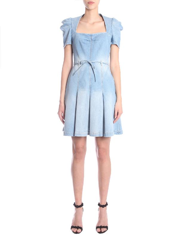 9c9c8fdf105 Boutique Moschino Light Blue Pleated Denim Dress