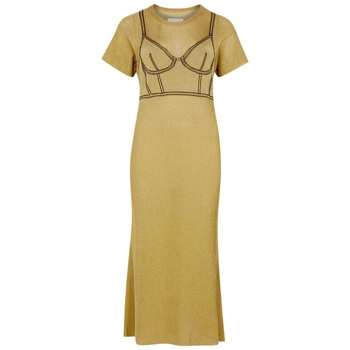 Maison Margiela Gold Corset-Intarsia Fine-Knit Dress