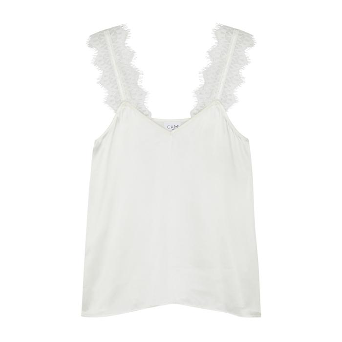 Cami Nyc Chelsea Lace-Trimmed Silk Top In White