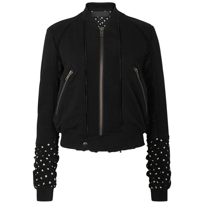 Haider Ackermann Black Cropped Panelled Bomber Jacket
