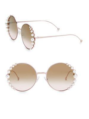 da97df5c1d6 Fendi 58Mm Round Sunglasses With Pearls In Dark Ruthen Dark Grey ...