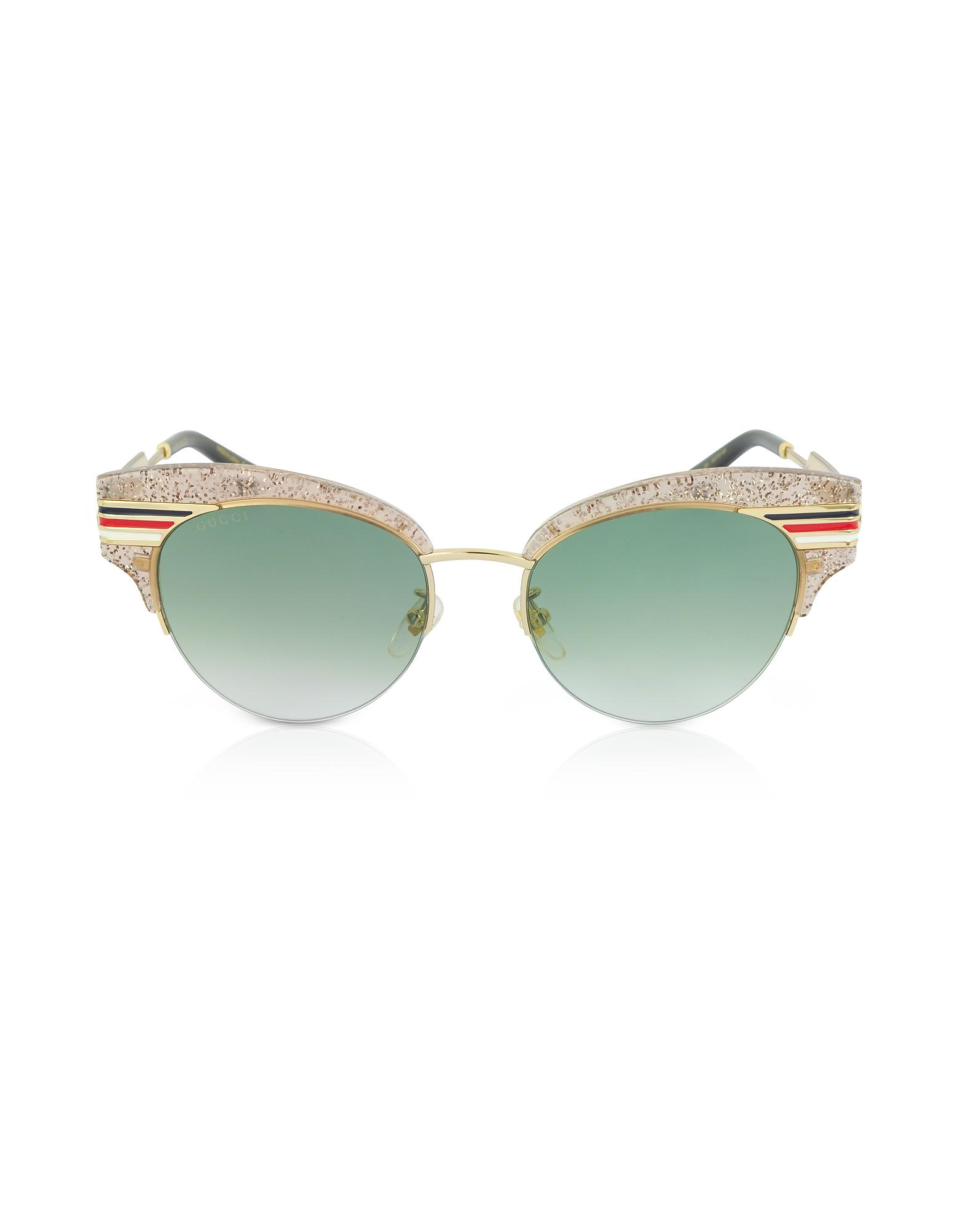 9577900ccd118 Gucci Gg0283S Cat Eye Beige Glitter Acetate Sunglasses W Sylvie Web Temples