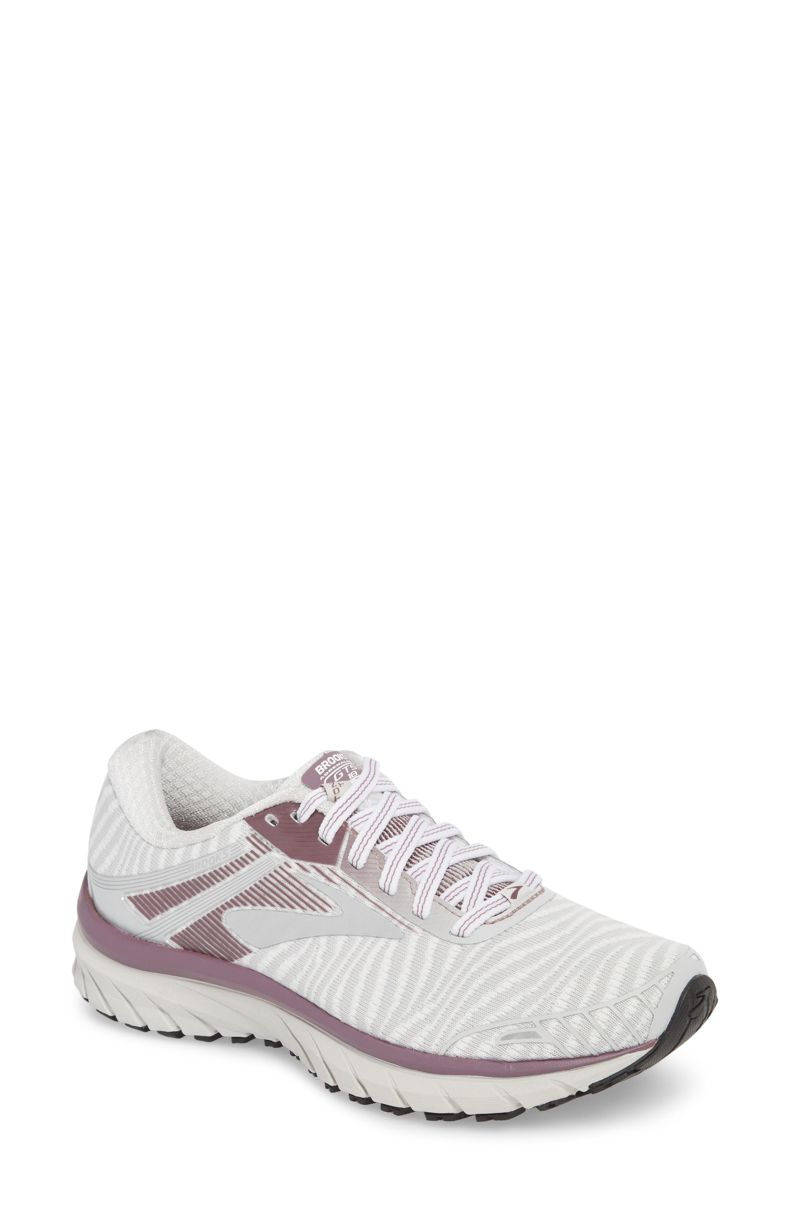 199b5219032 Brooks Adrenaline Gts 18 Running Shoe In White  Purple  Grey