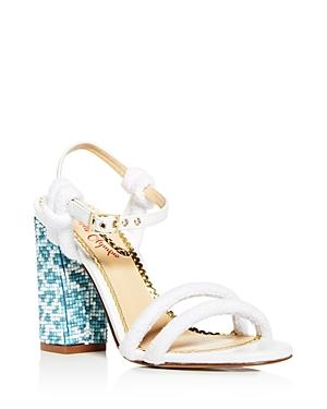 Charlotte Olympia Women's Cordelia Mixed Media High Block Heel Sandals In White