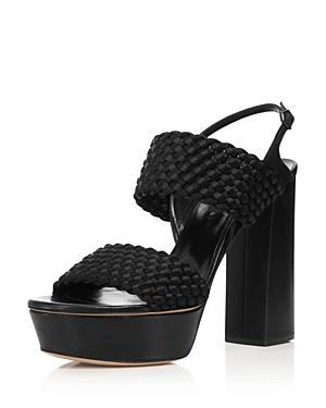 Casadei Women's Tresse Woven Satin Platform High-heel Sandals In Black