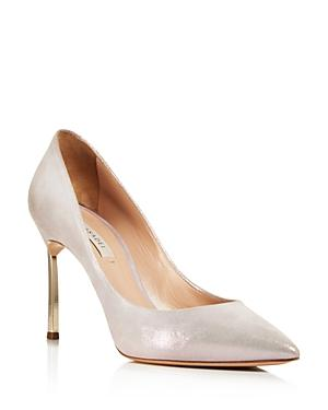 Casadei Women's Jolly Blade Shimmer Suede High-Heel Pumps In White