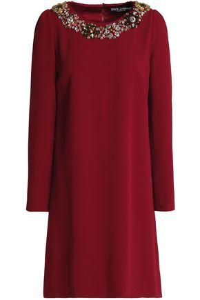 Dolce & Gabbana Woman Embellished Crepe Dress Burgundy