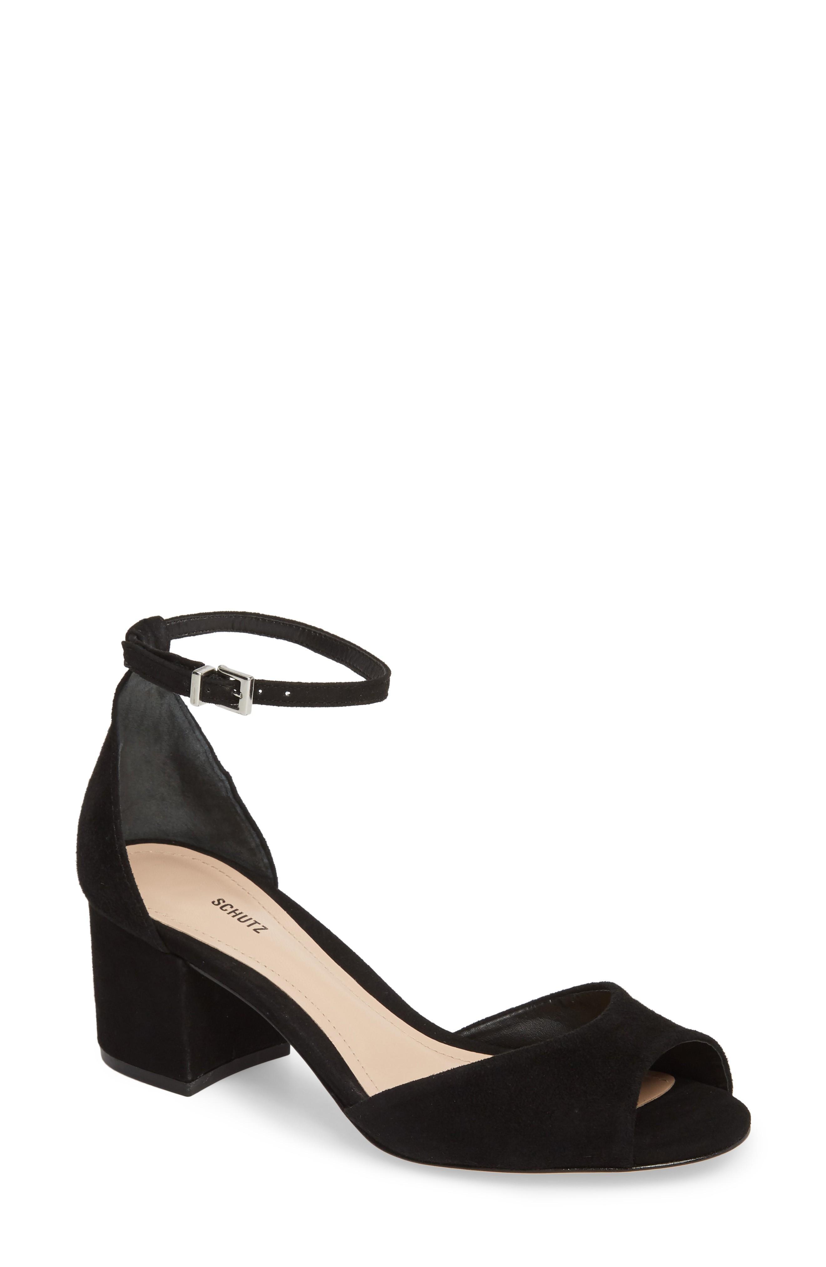 Schutz Roama Suede Ankle-Strap Sandals In Black