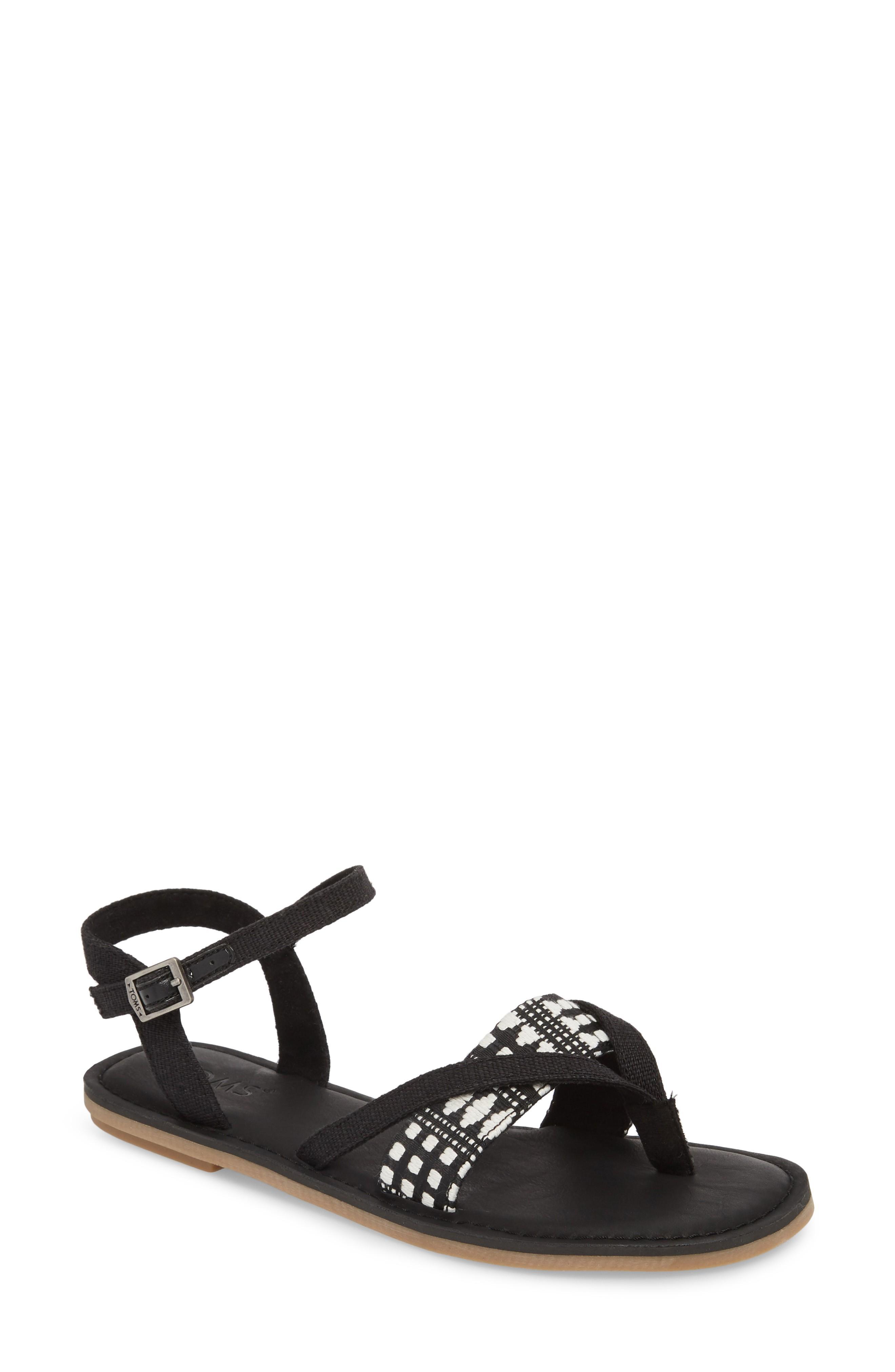 53c3a5a5e45 Toms  Lexie  Sandal In Black Canvas  Diamond Tribal
