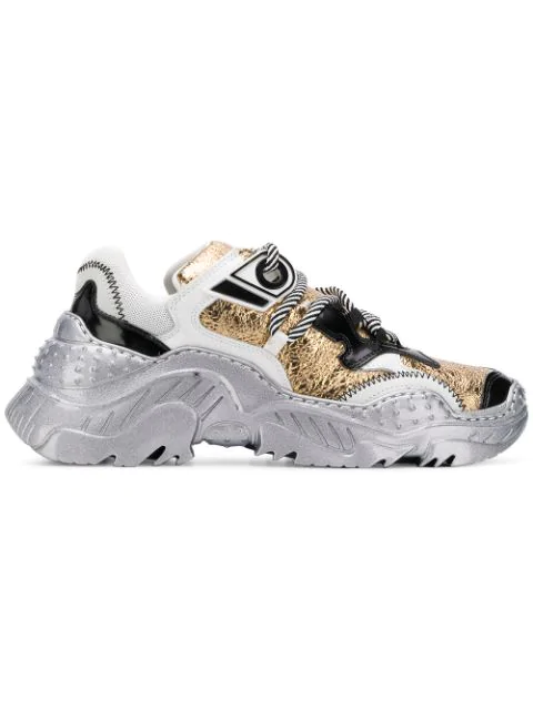 N°21 Billy Metallic Leather Sneakers In Silver