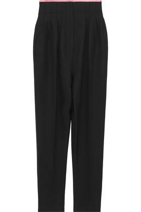 Haider Ackermann Silk Satin-Trimmed Pleated Wool Straight-Leg Pants In Black