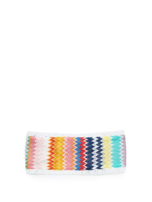 Missoni Zigzag Knitted Headband In Rainbow