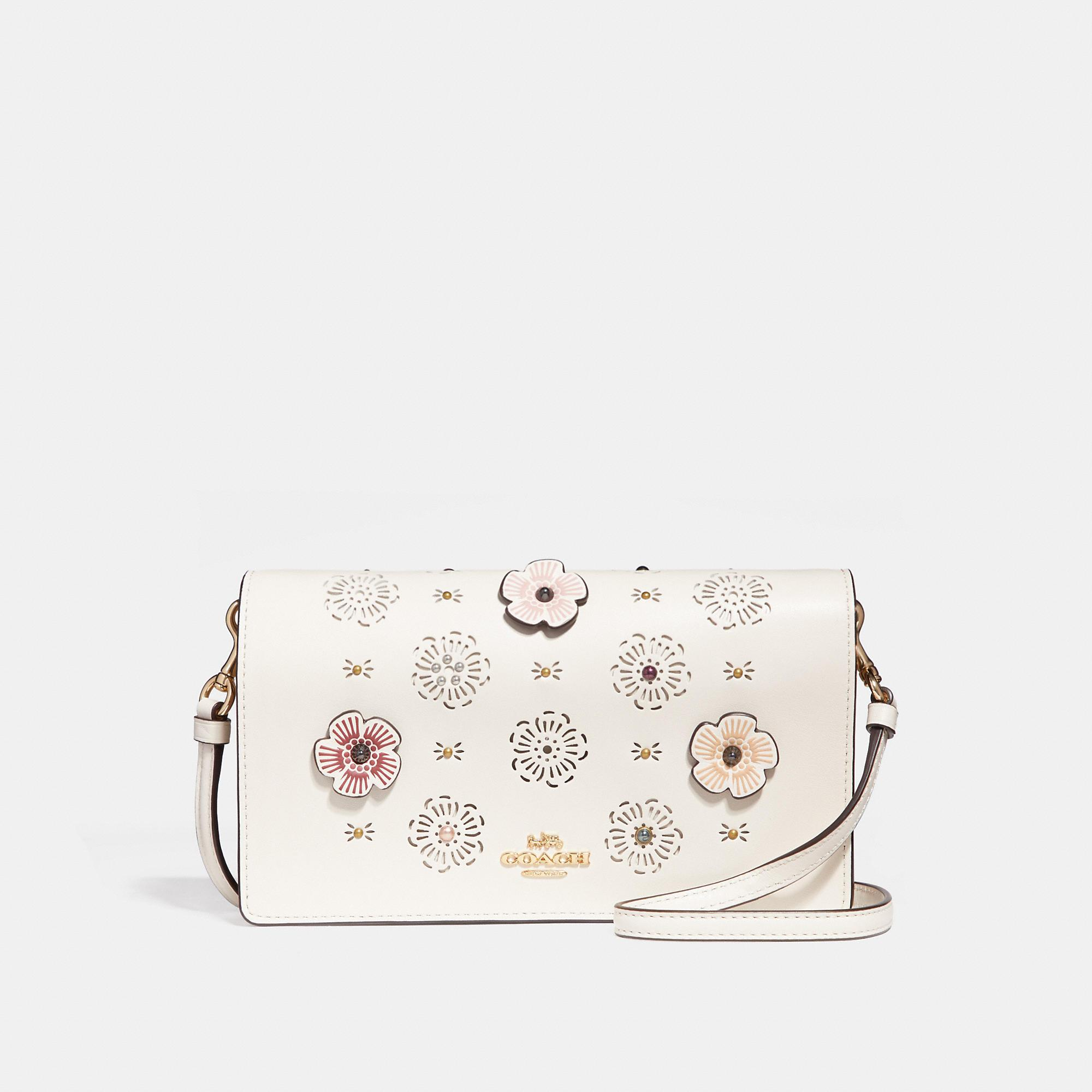 041598fcc3b5 Coach Foldover Crossbody Clutch With Cut Out Tea Rose In Chalk Light Gold