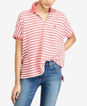 Polo Ralph Lauren Striped Poncho-Polo Shirt In Red/White