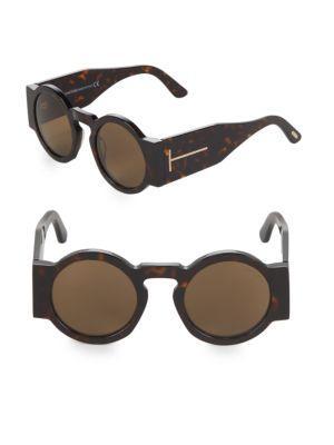Tom Ford 47Mm Round Sunglasses In Havana