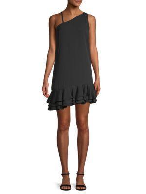 Ali & Jay Bar Nineteen Asymmetric Ruffle Mini Dress In Black