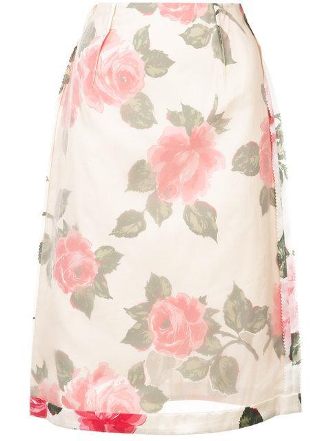 Maison Margiela Inverted Floral Print Skirt In Neutrals