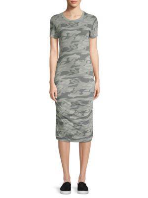 Monrow Shirred Camo Dress In Light Olive
