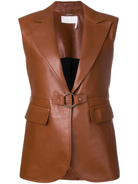 ChloÉ Leather Jacket In Brown