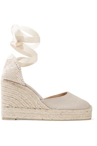 2e34d5fbb3b4 CastaÑEr Carina 80 Canvas Wedge Espadrilles In Gray