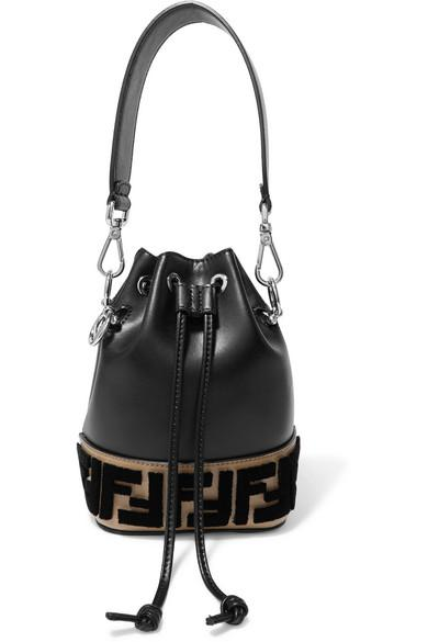 d30e79f403e9 Fendi Montresor Mini Flocked Leather Bucket Bag In Black