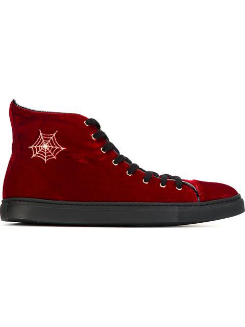 Charlotte Olympia Purrrfect Velvet High-Top Sneakers In Velvet_600_Red