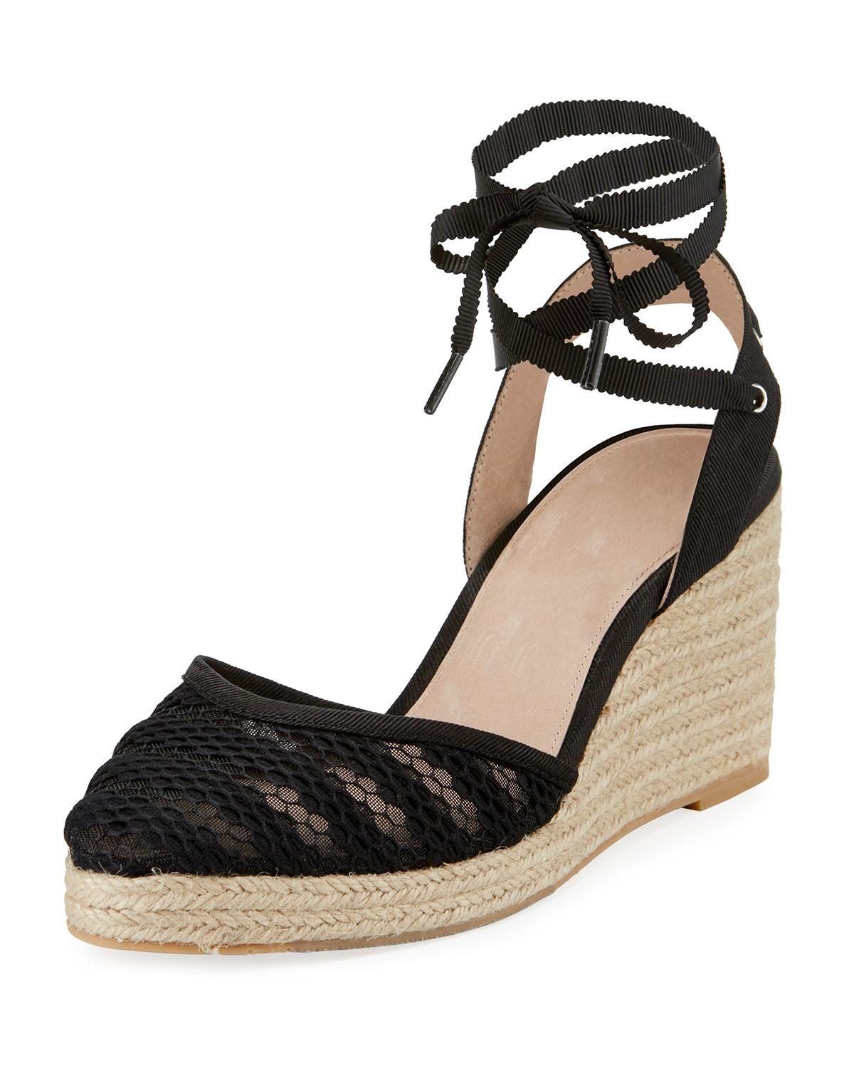 Adrianna Papell Penny Lace Ankle Espadrille Beige In Black Pattern