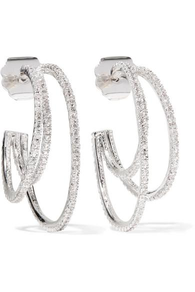 Kenneth Jay Lane Rhodium-Plated Cubic Zirconia Earrings In Silver