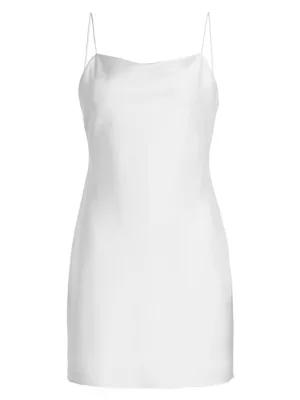 Alice And Olivia Harmony Satin Mini Slip Dress In White