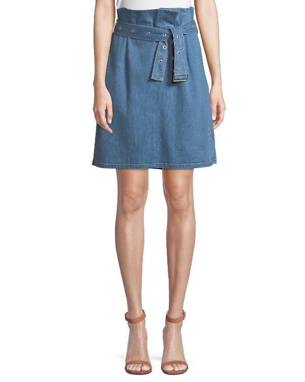 J Brand Tranquil Pleated Belted Denim Skirt In Heavenly
