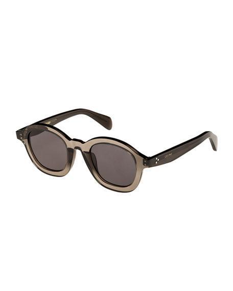 8e5e62ff77 Celine Round Transparent Acetate Sunglasses In Transparent Gray ...