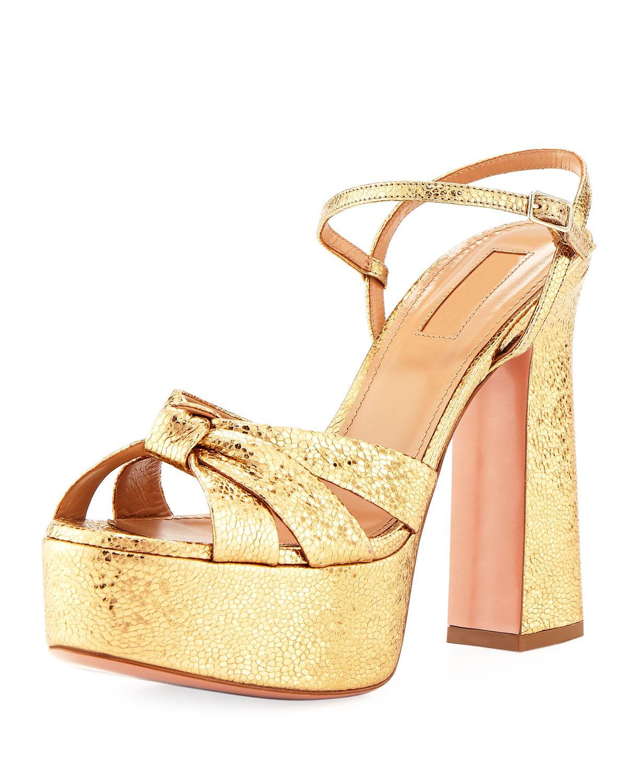 36a0f16eba36 Aquazzura Baba Plateau Metallic Cracked-Leather Platform Sandals In Gold