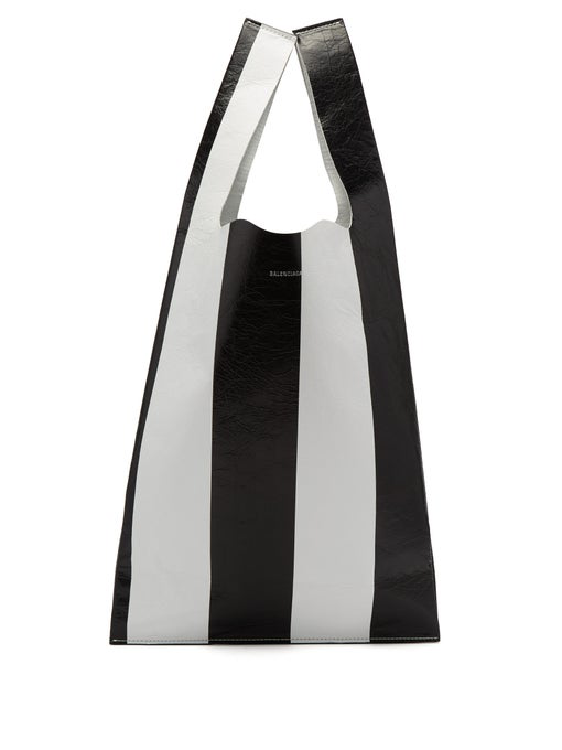 Balenciaga Striped Leather Supermarket Shopper Tote Bag - Black In Black White