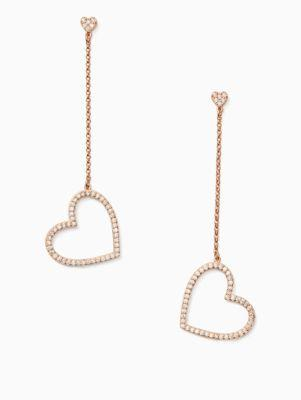 e492f37253cc2 Yours Truly Pave Heart Linear Earrings in Clear/Rose Gold