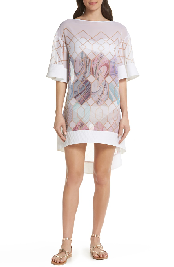 ec3796a39e0 Ted Baker Alban Sea Of Clouds Tunic Swim Cover-Up In White | ModeSens