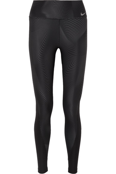 Nike Power Printed Dri-Fit Stretch Leggings In Black